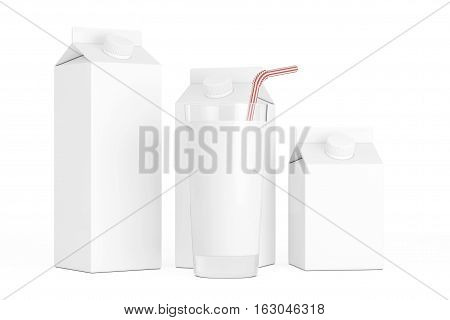 Blank Milk Carton Boxes with Glass of Milk on a white background. 3d Rendering