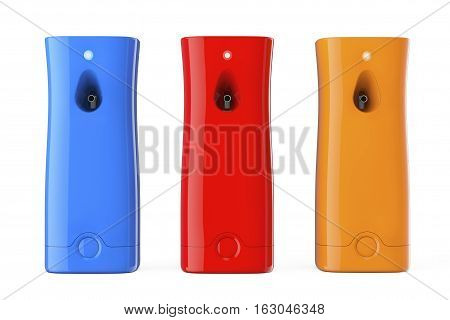 Multicolour Plastic Automatic Air Fresheners on a white background. 3d Rendering