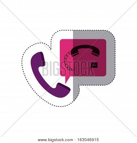 Phone device icon. Call telephone communication and contact theme. Isolated design. Vector illustration