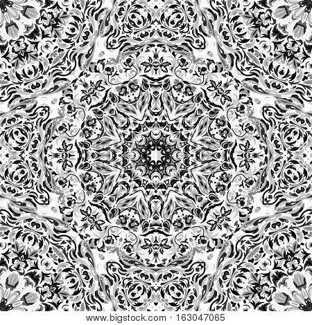 Festival art seamless mandala pattern. Ethnic geometric print. Black and whitel frame background. Vector illustration.