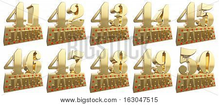 Set of golden digits on a gold ingot for the anniversary. Translation from German - Years. 3d illustration