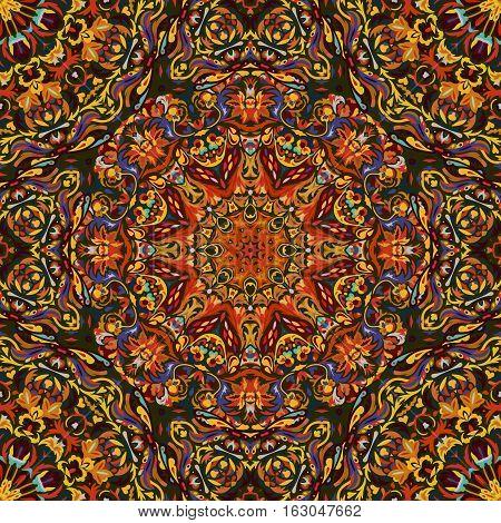 Festival art seamless mandala pattern. Ethnic geometric print. Orange brown frame background Vector illustration.