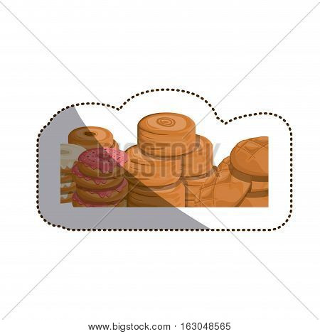 Bread and donut icon. Bakery food shop traditional and product theme. Isolated design. Vector illustration