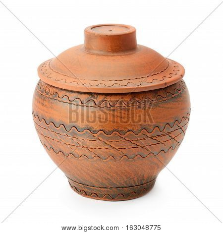 ceramic pot with a lid isolated on a white background