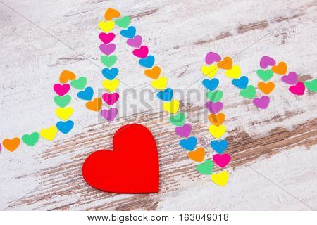 Cardiogram Line Of Paper Hearts On Wooden Background, Medicine And Healthcare Concept