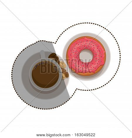 Donut and coffee cup icon. Bakery food shop traditional and product theme. Isolated design. Vector illustration