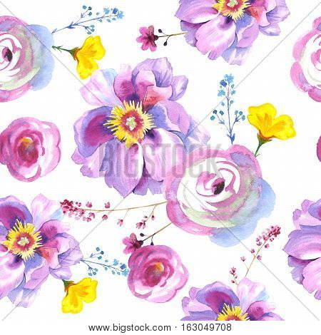 Wildflower rose flower pattern in a watercolor style isolated. Full name of the plant: rose, hulthemia, rosa. Aquarelle wild flower for background, texture, wrapper pattern, frame or border