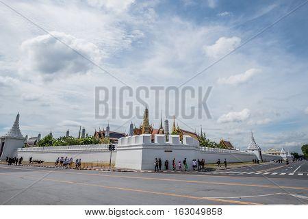 Bangkok Thailand - November 01 2016 : The Royal grand palace and Temple of the Emerald Buddha in funeral of His Majesty King Bhumibol in Bangkok.