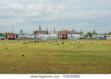 Bangkok Thailand - November 01 2016 : The Royal grand palace look from royal field in funeral of His Majesty King Bhumibol in Bangkok.