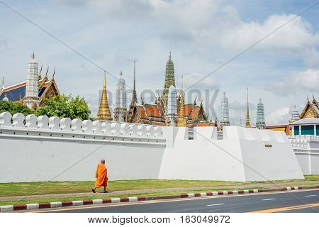 Bangkok Thailand - November 01 2016 : Thai monk walk to Royal grand palace and Temple of the Emerald Buddha in funeral of His Majesty King Bhumibol in Bangkok.