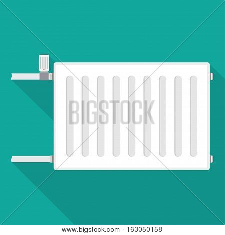 Heating radiator. metal radiator for heating systems. on a blue background. Vector illustration.