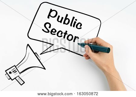 Public Sector. Megaphone and text on a white background.