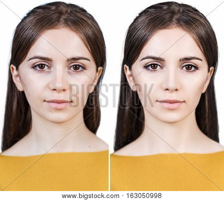 Comparison portrait of beautiful girl before and after retouch