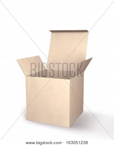 3D illustration. Open cardboard box isolated on white background.