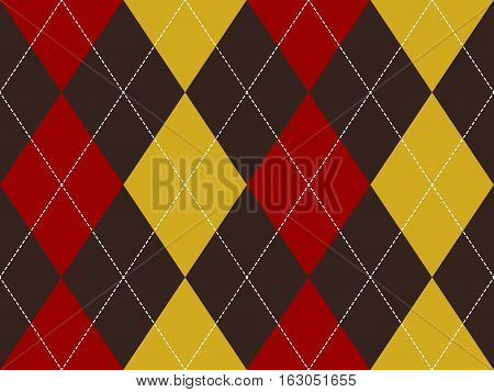 Brown red yellow argyle seamless pattern. Flat design. Vector illustration.