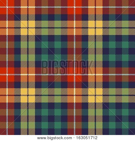 Colors check plaid seamless fabric texture. Vector illustration.