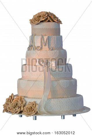multi level white wedding cake with flowers Isolated On White Background