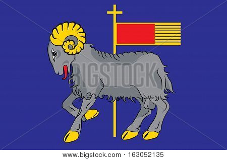 Flag of Gotland is a province county municipality and diocese of Sweden. Vector illustration