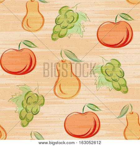 Seamless pattern with fruits in hand drawn style. Vector illustration. Apple, pear and grape drawn colored pencil on shabby paper. Sketch