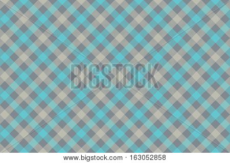 Grayblue check diagonal fabric texture background seamless pattern. Vector illustration. EPS 10.