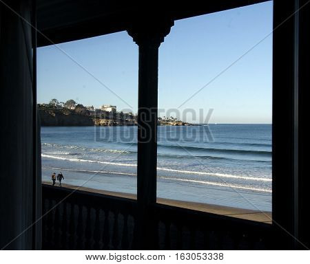 Window Framing Low Tide At A Beach Resort In Southern California