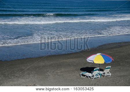 Colorful Beach Umbrella On A Beach In Southern California - 3