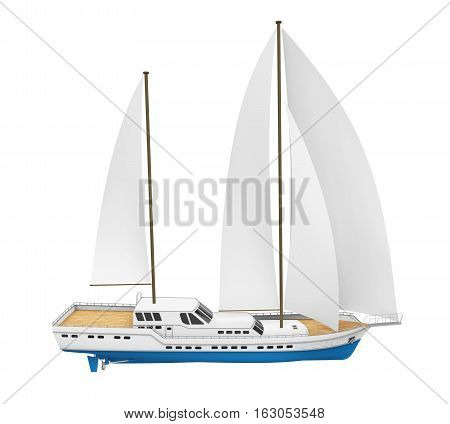 Sail Boat isolated on white background. 3D render