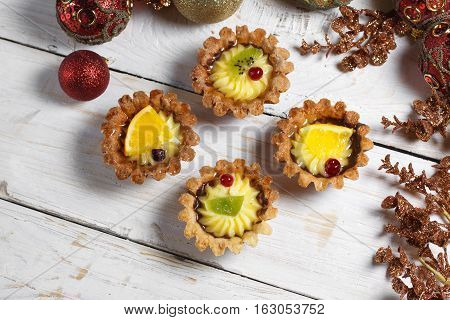 Homemade Desserts With Fruits For The New Year. Desserts For The Holidays. View From Above. Christma