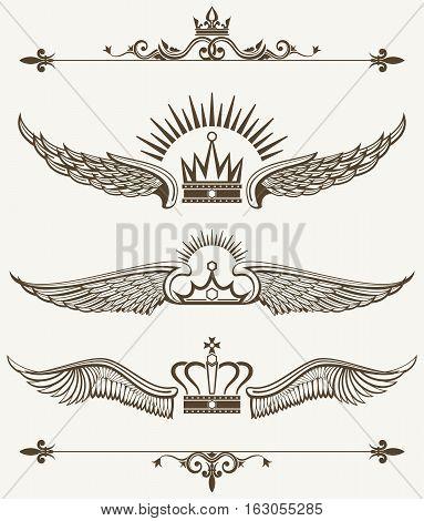 Set of royal winged crowns design elements. Nobility antique frame. Vector illustration