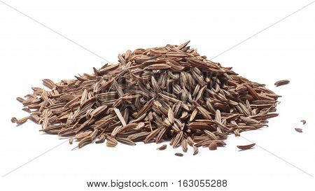 Pile of dried Caraway seeds (fruits of Carum carvi) known as meridian fennel persian cumin. Clipping paths shadows separated poster