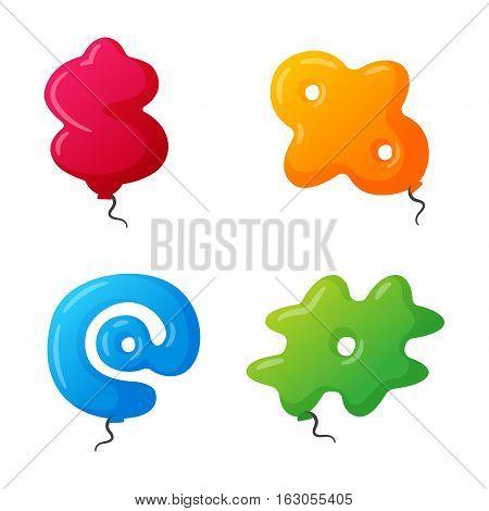 English balloon colorful mark on white background. Holidays and education ozone type sign. Greeting helium cartoon festive decoration vector illustration.