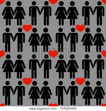 Vector gay LGBT seamless pattern. Homosexual love background decoration illustration