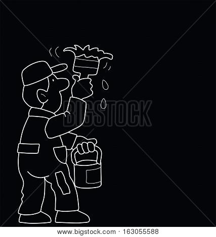 Monochrome outline cartoon painter isolated on black background with copy  space for own text or graphics