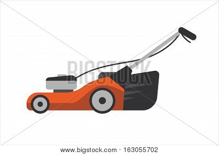 Lawn mower vector illustration. Gardener landscaping blade power sign. Mowing machine for cut green grass. Tractor pruning steel technology object.
