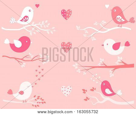 Valentine's day greeting card or background with cute birds and branches in pink colors