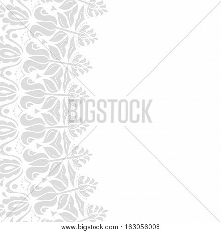 Classic vector square frame with arabesques and orient light silver elements. Abstract ornament with place for text. Vintage pattern