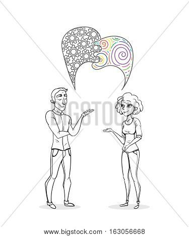 Collaboration of two people. Creative woman and man analyst. Business sketch vector illustration.