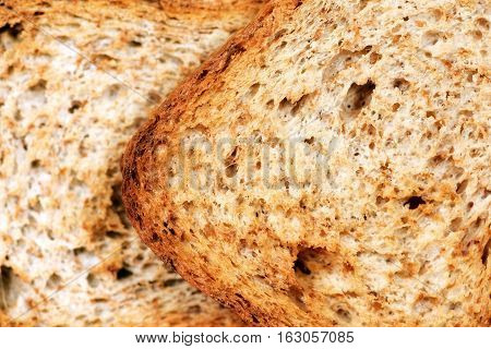 Detail of two rusks of wholemeal flour - Macro photography