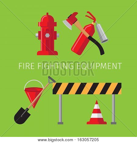Fire fighting equipment on green background vector illustration