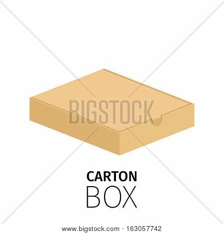 Carton rectangular low box pack. Vector flat item isolated on white
