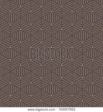 Geometric repeating vector ornament with octagonal dotted golden elements. Geometric abstract ornament. Seamless abstract modern pattern