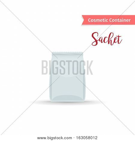 Cosmetic container. Realistic white sachet with cosmetic product vector illustration