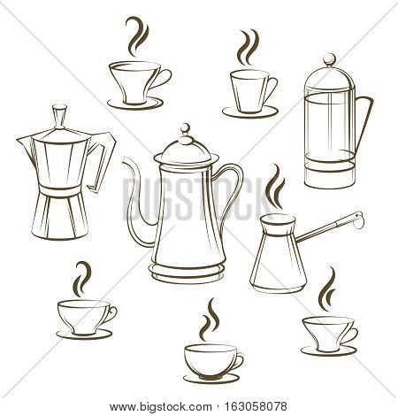 Coffee sketch vector collection. Hand drawn coffee pot and cup vector illustration