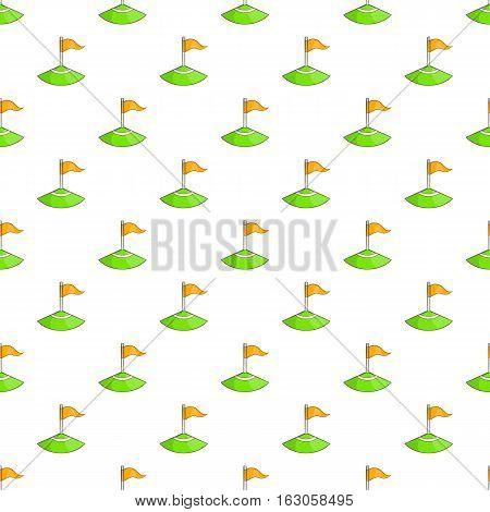Corner flag on soccer field pattern. Cartoon illustration of corner flag on soccer field vector pattern for web