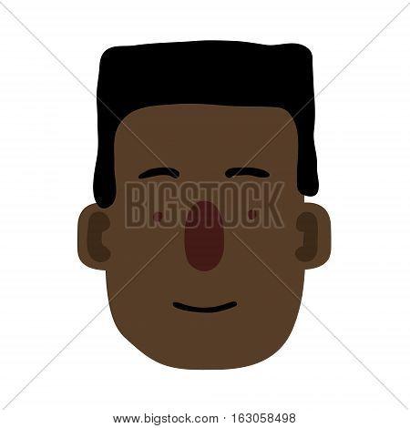 Cartoon Human Face isolated on white. Vector illustration