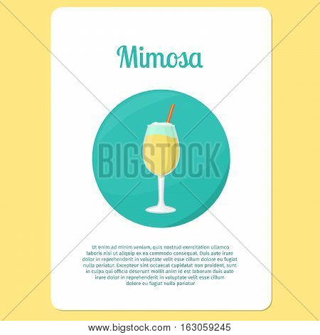Mimosa cocktail menu item or sticker. Party drink in circle icon vector illustration