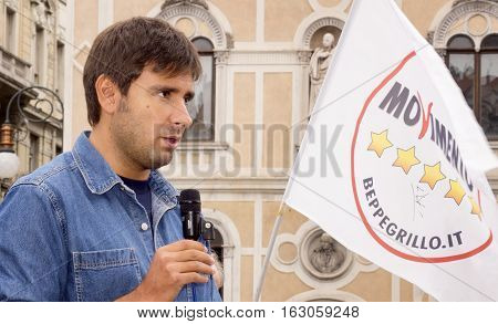 TRIESTE ITALY - SEPTEMBER 26, 2015: Italian deputy of Parliament for Movimento Cinque Stelle, Alessandro Di Battista, pictured in Piazza Borsa during his political meeting.