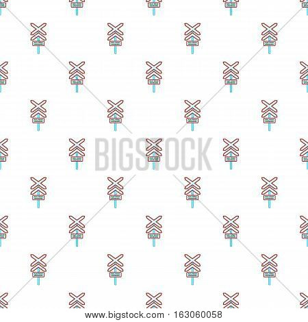 Sign rail road crossing pattern. Cartoon illustration of sign rail road crossing vector pattern for web
