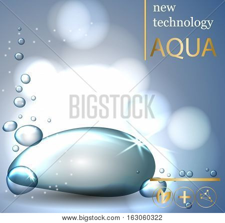 Face skincare premium ad design template. Water drops realistic.aqua skin collagen Serum and Background Concept Skin Care Cosmetic.