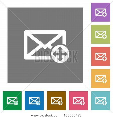 Move mail flat icons on simple color square backgrounds